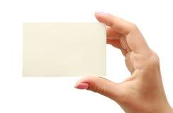 In hand adreskaartje Stock Afbeelding