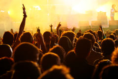 Hand in the air in a concert Royalty Free Stock Images