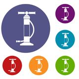 Hand air pump icons set Stock Image