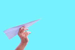 Hand aircraft paper fold to success for design rocket paper Royalty Free Stock Image