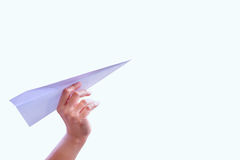 Hand aircraft paper fold to success for design rocket paper Royalty Free Stock Images
