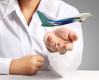 Hand and airplane Royalty Free Stock Images