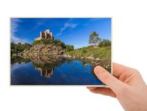 Hand and Almourol castle - Portugal my photo. Isolated on white background Royalty Free Stock Images