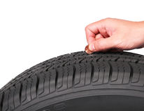 Hand with american cent coin check tire condition isolated Stock Photography