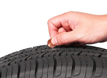 Hand with american cent coin check tire condition isolated Stock Images