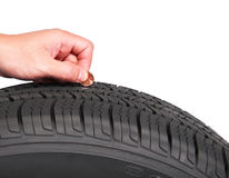 Hand with american cent coin check tire condition Stock Image
