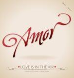 Hand ?Amor? het van letters voorzien () Royalty-vrije Stock Afbeeldingen