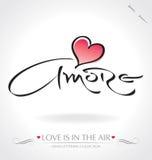 Hand ?Amore? het van letters voorzien () Stock Foto's