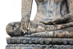 Hand of an ancient Buddha image Royalty Free Stock Photo