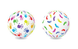 Hand And Foot Print Globe Royalty Free Stock Photos