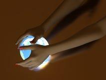 Hand And Luminous Globe Royalty Free Stock Photo