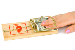 Hand And Mousetrap With Money Royalty Free Stock Images