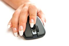 Hand And Pc Mouse Stock Images
