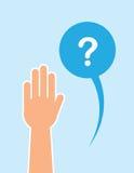 Hand angehobene Fragen-Blase Lizenzfreies Stockfoto
