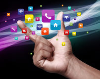 Hand with apps. Apps is an abbreviation for application. An app is a piece of software. It can run on the Internet, on your computer, or on your phone or other Royalty Free Stock Image