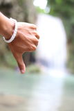 Hand and Arawan water fall national park Royalty Free Stock Photo