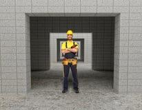 Hand arbeider in de moderne bouw Stock Foto's