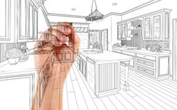 Hand of Architect Drawing Detail of Custom Kitchen Design.  royalty free illustration
