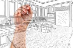 Hand of Architect Drawing Detail of Custom Kitchen Design.  stock illustration
