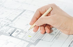 Hand and architectural project Stock Image