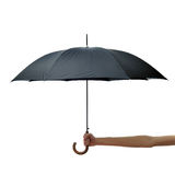 Hand and arm holding black umbrella Stock Photos