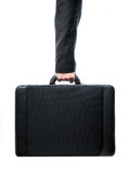 Hand and arm holding suitcase royalty free stock images