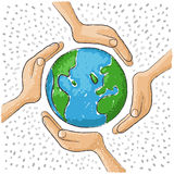 Hand around the world Royalty Free Stock Photo