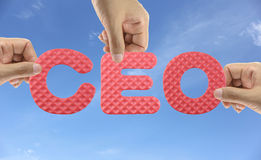 Hand arrange alphabet CEO of acronym Chief Executive Officer. Royalty Free Stock Photo