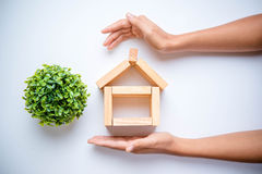 Hand arranging wood block Royalty Free Stock Images