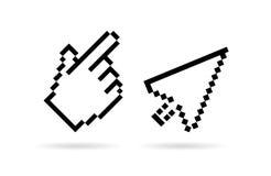 Hand arrow cursor vector icon. Hand arrow cursors vector icons set Royalty Free Stock Image