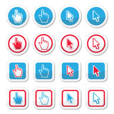 Hand and arrow cursor vector icons set Stock Photo