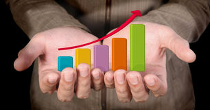 Hand  arrow graph Royalty Free Stock Image