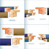 Hand Arrow Pointing Forefinger Team Sign Set Color Royalty Free Stock Image