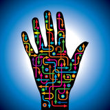 Hand with arrows idea Royalty Free Stock Photography