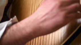 Hand With Artificial Nail Playing On Bandura. Traditional Ukrainian Musical Instrument stock video footage