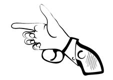 Hand as gun. Isilated on white background Royalty Free Stock Images