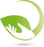 Hand as a leaf, plant, nature and wellness logo Stock Images