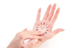 Hand as a vintage watch Stock Photo