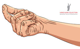 Hand asking about payment, detailed vector illustration. Royalty Free Stock Photos