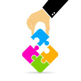 Hand assembling puzzle. Vector illustration Royalty Free Stock Photography