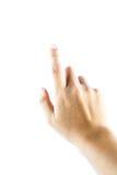 Hand auf dem lokalisierten Hintergrund Stockfoto