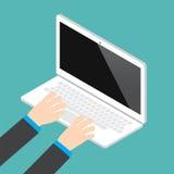 Hand auf Laptoptastatur mit Monitor des leeren Bildschirms vektor abbildung