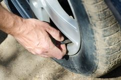 Hand of auto mechanic checking tire pressure. Of car closeup royalty free stock image