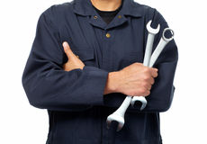 Hand of auto mechanic with wrench. Royalty Free Stock Photography