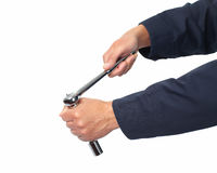 Hand of auto mechanic with wrench. Stock Photos