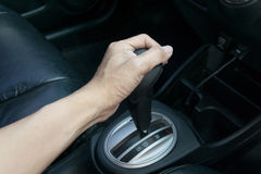 Hand on automatic gear shift Stock Photography