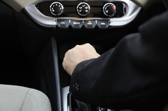Hand On Automatic Shift Knob Royalty Free Stock Photography