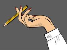 Hand av affärskvinnan med en blyertspenna i fingrarna Fotografering för Bildbyråer