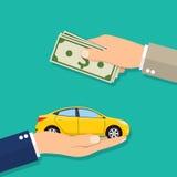 Hand av affärsmannen med pengar som köper en bil Arkivfoto
