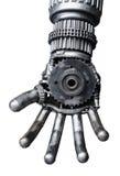 Hand av den metalliska cy-ber eller roboten royaltyfri bild
